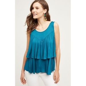 New Anthropologie Double Ruffle Tank